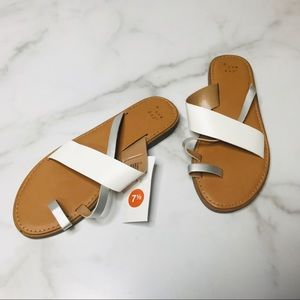 a new day Size 7.5 Silver Kallima Slip On Sandals